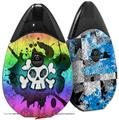 Skin Decal Wrap 2 Pack compatible with Suorin Drop Cartoon Skull Rainbow VAPE NOT INCLUDED