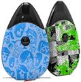 Skin Decal Wrap 2 Pack compatible with Suorin Drop Skull Sketches Blue VAPE NOT INCLUDED