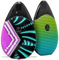 Skin Decal Wrap 2 Pack compatible with Suorin Drop Black Waves Neon Teal Hot Pink VAPE NOT INCLUDED