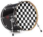 "Vinyl Decal Skin Wrap for 22"" Bass Kick Drum Head Checkers White - DRUM HEAD NOT INCLUDED"