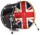"Vinyl Decal Skin Wrap for 22"" Bass Kick Drum Head Painted Faded and Cracked Union Jack British Flag - DRUM HEAD NOT INCLUDED"