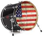 "Vinyl Decal Skin Wrap for 22"" Bass Kick Drum Head Painted Faded and Cracked USA American Flag - DRUM HEAD NOT INCLUDED"