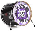 "Vinyl Decal Skin Wrap for 22"" Bass Kick Drum Head Cartoon Skull Purple - DRUM HEAD NOT INCLUDED"