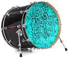 "Vinyl Decal Skin Wrap for 22"" Bass Kick Drum Head Folder Doodles Neon Teal - DRUM HEAD NOT INCLUDED"