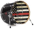 "Vinyl Decal Skin Wrap for 22"" Bass Kick Drum Head Painted Faded and Cracked Red Line USA American Flag - DRUM HEAD NOT INCLUDED"