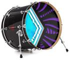 "Vinyl Decal Skin Wrap for 22"" Bass Kick Drum Head Black Waves Neon Teal Purple - DRUM HEAD NOT INCLUDED"