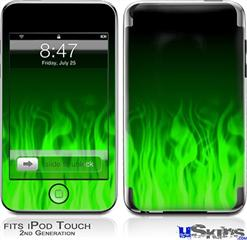 iPod Touch 2G & 3G Skin - Fire Flames Green