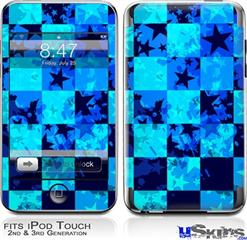 iPod Touch 2G & 3G Skin - Blue Star Checkers