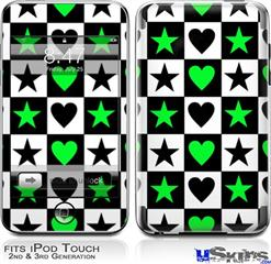 iPod Touch 2G & 3G Skin - Hearts And Stars Green