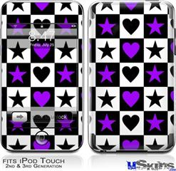 iPod Touch 2G & 3G Skin - Purple Hearts And Stars