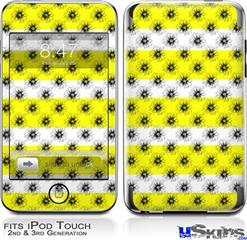 iPod Touch 2G & 3G Skin - Kearas Daisies Stripe Yellow