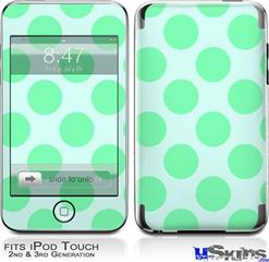 iPod Touch 2G & 3G Skin - Kearas Polka Dots Green On Green