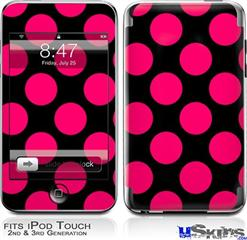 iPod Touch 2G & 3G Skin - Kearas Polka Dots Pink On Black