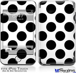 iPod Touch 2G & 3G Skin - Kearas Polka Dots White And Black