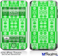 iPod Touch 2G & 3G Skin - Skull And Crossbones Pattern Green