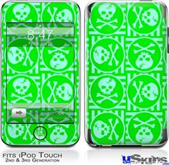 iPod Touch 2G & 3G Skin - Skull Patch Pattern Green