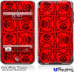 iPod Touch 2G & 3G Skin - Skull Patch Pattern Red
