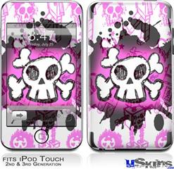 iPod Touch 2G & 3G Skin - Cartoon Skull Pink