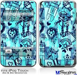 iPod Touch 2G & 3G Skin - Scene Kid Sketches Blue