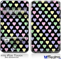 iPod Touch 2G & 3G Skin - Pastel Hearts on Black