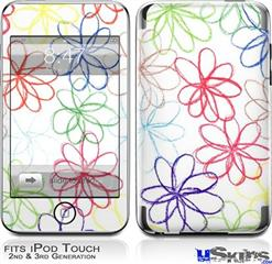 iPod Touch 2G & 3G Skin - Kearas Flowers on White