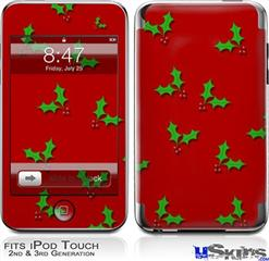 iPod Touch 2G & 3G Skin - Holly Leaves on Red