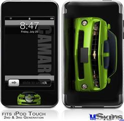 iPod Touch 2G & 3G Skin - 2010 Chevy Camaro Green - Black Stripes