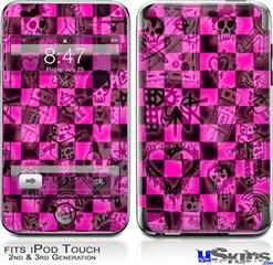 iPod Touch 2G & 3G Skin - Pink Checkerboard Sketches