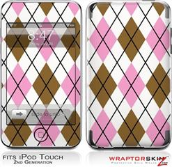 iPod Touch 2G & 3G Skin - Argyle Pink and Brown
