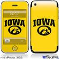 iPhone 3GS Skin - Iowa Hawkeyes Tigerhawk Oval 01 Black on Gold