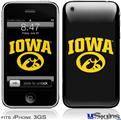 iPhone 3GS Skin - Iowa Hawkeyes Tigerhawk Oval 01 Gold on Black
