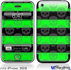 iPhone 3GS Skin - Skull Stripes Green