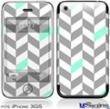 iPhone 3GS Skin - Chevrons Gray And Seafoam