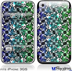 iPhone 3GS Skin - Splatter Girly Skull Rainbow