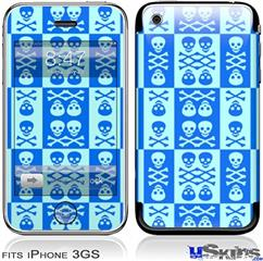 iPhone 3GS Skin - Skull And Crossbones Pattern Blue