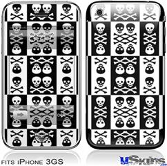 iPhone 3GS Skin - Skull And Crossbones Pattern Bw