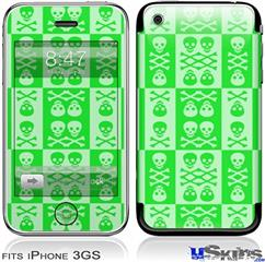 iPhone 3GS Skin - Skull And Crossbones Pattern Green