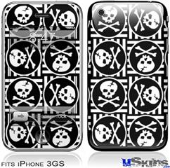 iPhone 3GS Skin - Skull Patch Pattern Bw