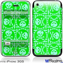 iPhone 3GS Skin - Skull Patch Pattern Green