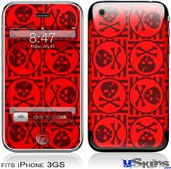 iPhone 3GS Skin - Skull Patch Pattern Red