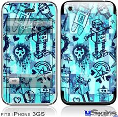 iPhone 3GS Skin - Scene Kid Sketches Blue