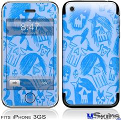 iPhone 3GS Skin - Skull Sketches Blue