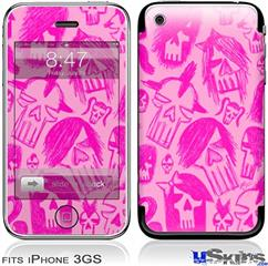 iPhone 3GS Skin - Skull Sketches Pink