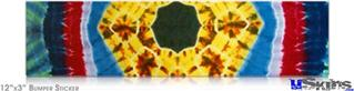 12x3 Bumper Sticker (Permanent) - Tie Dye Circles and Squares 101