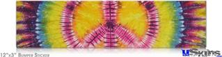 12x3 Bumper Sticker (Permanent) - Tie Dye Peace Sign 109