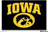 "Poster 36""x24"" - Iowa Hawkeyes Tigerhawk Oval 01 Gold on Black"