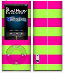 iPod Nano 5G Skin - Psycho Stripes Neon Green and Hot Pink