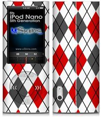 iPod Nano 5G Skin - Argyle Red and Gray