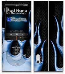 iPod Nano 5G Skin - Metal Flames Blue