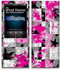 iPod Nano 5G Skin - Checker Skull Splatter